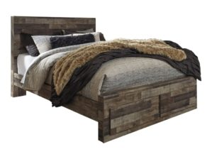 Benchcraft by Ashley Derekson Rustic Modern Queen Storage Bed with 2 Footboard Drawers