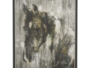 Horse Painting Framed Art 25w 37h